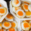 Scrambled quail eggs at the eastern market close-up — Stock Photo