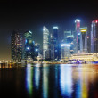 Night Singapore skyscrapers shines with lights — Stock Photo