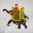Traditional mural - image of maharaja of riding on an elephant. — Stock Photo