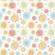 abstract vintage vector seamless pattern - color curves circles — Stock Vector