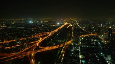 Video 1920x1080 - Aerial view night illuminated cityscape with intersections — Stock Video