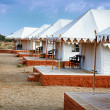 Tents in the Indian desert - tourist camp — Stock Photo