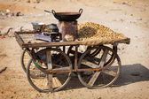 Old indian mobile shop for selling roasted peanuts — Stock Photo