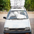 Old car, good staffing of airbags. Joke. — Stock Photo