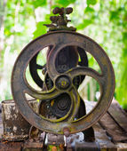 Old cast iron machine for squeezing the latex — Stock Photo