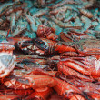 Crabs and shrimp in east market — Stock Photo