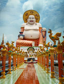 Big laughing Buddha statue. Wat Plai Laem, Samui, Thailand — Stock Photo