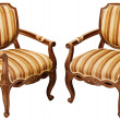 Vintage wooden baroque armchairs isolated on white — Stock Photo