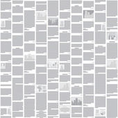 Vector seamless newspaper pattern - abstract monochrome backgrou — Stock Vector