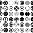 Vector set of silhouettes of gears and other round objects — Stock Vector