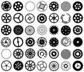 Set vettoriale delle sagome di ingranaggi e altri oggetti rotondi — Vettoriale Stock