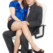 Young couple in white chair — Stock Photo #3429288