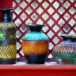 Vintage vases on the windowsill. India — Stock Photo