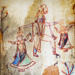Ancient paintings in an abandoned provincial temple. India — Stock Photo