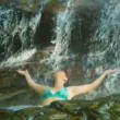 Video 1920x1080 - A woman enjoys bathing in a waterfall. Thailand, Phuket — Stock Video