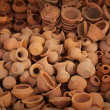 Big pile of clay pots on the market — Stock Photo
