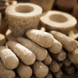 Stock Photo: Stone products on market in Myanmar. Mortars and pestles close u