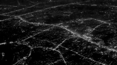 Video 1920x1080 - Night lights of the city. View from the airplane window — Vídeo de stock
