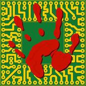 Computer technology fingerprinting - vector illustration — Stok Vektör