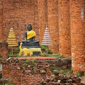 Ancienne statue de bouddha dans le temple ruine. ayutthaya, thaïlande — Photo