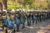 PHNOM PENH, CAMBODIA - 29 DEC 2013: Cambodian riot police march  — Stock Photo