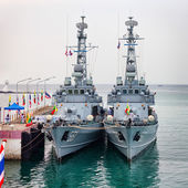PHUKET, THAILAND - 22 FEB 2013: Two military Burmese anchored sh — Stock Photo