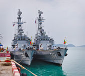 PHUKET, THAILAND - 22 FEB 2013: Two military Myanmar ships ancho — Stock Photo
