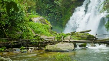 Video 1920x1080 - Bamboo bridge near a waterfall. Chiang Rai, Thailand — Stock Video