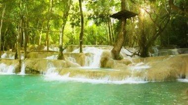 Video 1080p - Kouang Si Waterfall, Laos, Luang Prabang. Look with panning — Stock Video