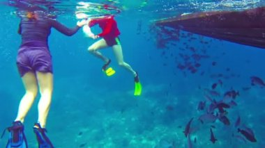 SIMILANS, THAILAND - CIRCA MAR 2014: Tourists snorkle near a wooden boat among the of tropical fishes — Stock Video