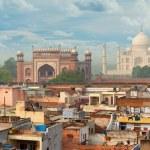 Panorama of Agra city, India. Taj Mahal in the background — Stock Photo #51052557