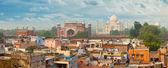 Panorama of Agra city, India. Taj Mahal in the background — Stock Photo