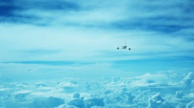 Video 1080p - The plane rises above the clouds. Back view — Stock Video
