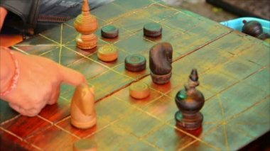 Video 1080p - Locals playing Cambodian Chess (Ouk-Khmer) — Stock Video
