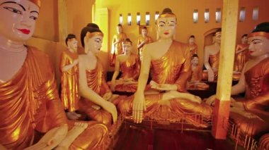 Video 1080p - Room full with statues of Buddha. Burma, Yangon — Stock Video