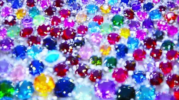 Diamantes sintéticos video 1080P - Composición abstracta - en un escaparate — Vídeo de stock