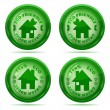 Vector illustration of a set of glossy green house icons isolate — Stock Vector
