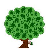 Ilustracja wektorowa drzewo eko zielony — Wektor stockowy