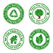 Vector illustration of a set of green environmental icons isolat — Stock Vector