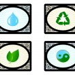 Vector illustration of a set of environment icons isolated on wh — Stock Vector