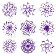 Stock Vector: Vector illustration of set of snowflakes isolated on white back
