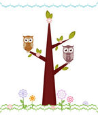 Owls sitting on branches. Vector illustration — Stock Vector
