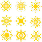 Vector illustration of a set of an abstract suns — Stock Vector