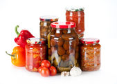 Jars with different kind of pickles, home made — Stock Photo