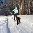 Woman on ski is going for a running dog. — Stock Photo #4823401