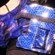 Blue shiny handbag — Stock Photo #1024256