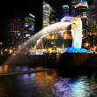Merlion fountain at night — Stock Photo