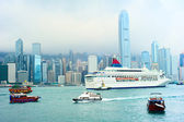 Hong Kong harbor and ferry — Foto de Stock
