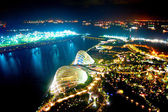 Night view of Gardens by the Bay — Stock Photo