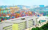 Aerial view on Singapore port — Stock Photo